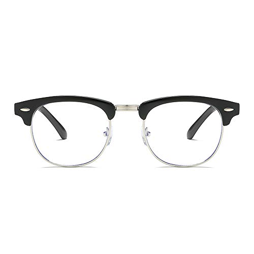 BROVAVE Blue Light Blocking Glasses Vintage Semi Rimless Eyeglasses Frame UV 400 Anti Eyestrain & Blue Ray Black