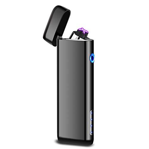 Elektrische aansteker, Touch Ignition aansteker, oplaadbare USB-aansteker met dubbele boog, winddichte plasma-aansteker met stroomindicator, leuk cadeau voor mannen (meerkleurig)