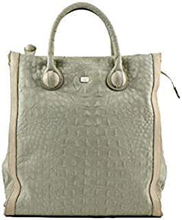 Kaizer KNI1853GHI Leather Tote Bag for Women - Off-White