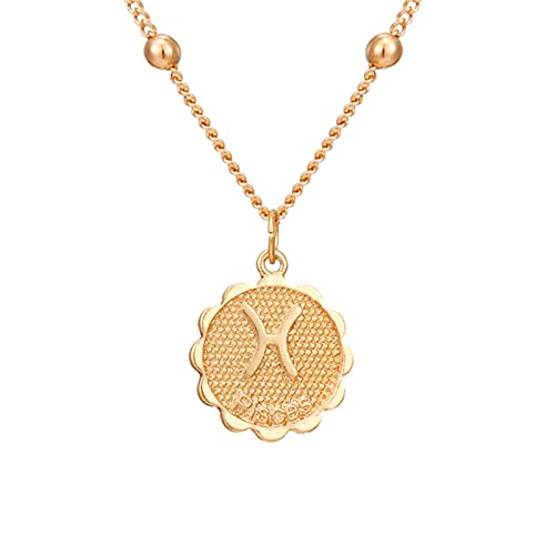 ZhenS 12 Constelaciones Moneda Colgante Collar Oro Signo del Zodiaco Aries Leo Collar Mujeres joyería Doce horóscopo clavícula Collar-Piscis