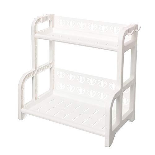 NBNBN Küchengewürzregal Gewürze Trägerschicht 2 for Küchen Speisekammer Shelf Storage Rack Parfüm Finisher Funktionale Küchenablage (Farbe : Weiß, Size : 41x25X40.5CM)