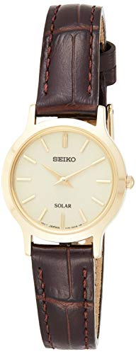 Seiko Women's Year-Round Acciaio INOX Solar Powered Watch with Leather Strap, Brown, 13 (Model: SUP302P1)