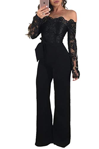 Ophestin Women Sexy Off Shoulder Floral Lace Long Sleeve Bodycon Wide Leg Jumpsuits Rompers with Belt (Medium, Black)