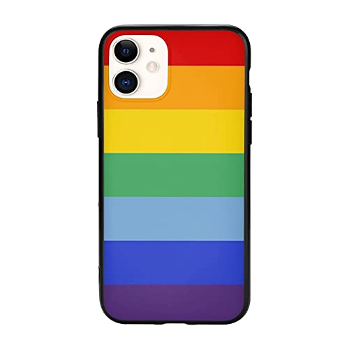 Rainbow iPhone 11 Case Pattern Gay Pride LGBTQ Anime Colorful Cool TPU Silicone Shockproof Design Shell Black for iPhone 11 (6.1 inch) Protective Cover for Women Men Teen Girls Boys