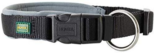 HUNTER NEOPREN VARIO PLUS Halsung, Hundehalsband, Nylon, mit Neopren gepolstert, 45/2,0 (M), schwarz/grau