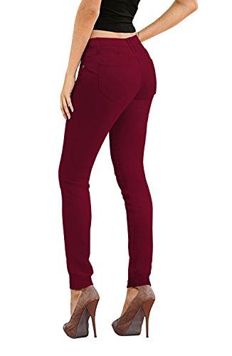Women's Butt Lift Stretch Denim Jeans-P37387SKX-WINE-14