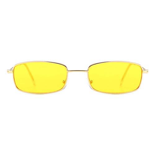 Skang Damen Retro Quadrat Klein Metall Rahmen Sonnenbrille Pilot Brille Süßigkeit-farbige Gläser Mehrfarbig Rot Gelb Rosa Grau(Einheitsgröße,D)