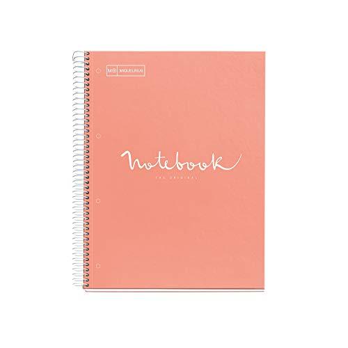 MIQUELRIUS - Cuaderno Notebook Emotions - 1 franja de color, A4, 80 Hojas cuadriculadas 5mm, Papel 90g, 4 Taladros, Cubierta de Cartón Extraduro, Color Melocotón