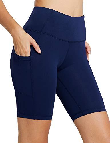 BALEAF Women's 8' High Waist Biker Workout Yoga Running Compression Exercise Shorts Side Pockets Navy Blue Size L