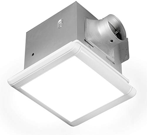 Homewerks Worldwide 7145-80V-HS Dual Speed Bathroom Exhaust Fan with Integrated Dimmable LED and Automating Humidity Sensor, 1.0-1.5 Sones 80-110 CFM, Smart Moisture White