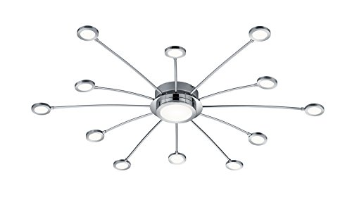 Trio Leuchten LED Deckenleuchte Bodrum 673311306, Metall Nickel matt, inkl. 6,6 Watt LED & 12x 2,1 Watt LED, Lichtfarbe wechselbar, Dimmbar, Fernbedienung