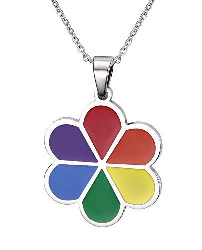CanKun Regenbogen Anhänger Halskette, Gay Pride Anhänger, Polierter Edelstahlspiegel, Silberne Regenbogen Halskette Kettenlänge 50Cm