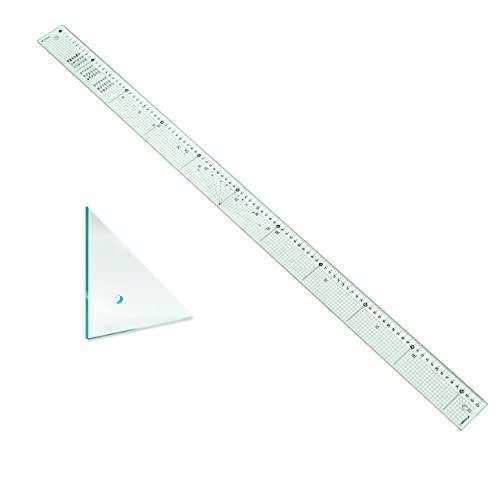 B1カッティング定規 大きい写真やダンボール等のカットに最適!長さ1050mm ステンレスエッジ 5mm方眼 DIY 三角定規付き (カッティング定規(三角定規付き))