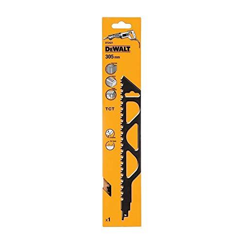 DeWalt DT2421-QZ - Hoja de sierra sable bi-metal, longitud: 305mm, paso de diente: 12.7mm, hoja de carburo de tungsteno para corte de hormigón celular, ladrillo rojo y fibrocemento hasta 250mm