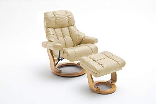 lifestyle4living Relaxsessel in Beige, Echtleder, Gestell 360° drehbar Natur Braun inkl. gepolstertem Hocker | Perfekter Sessel mit Relaxfunktion für entspannte Abende