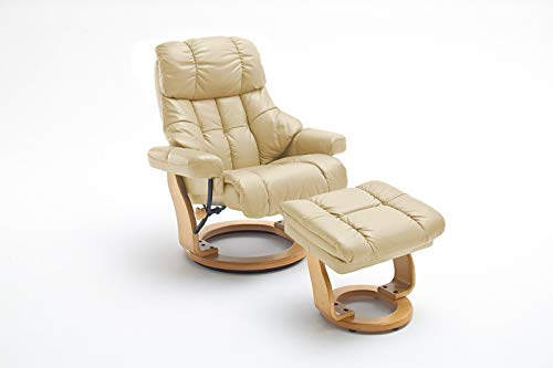 lifestyle4living Relaxsessel in Beige, Echtleder, Gestell 360° drehbar Natur Braun inkl. gepolstertem Hocker   Perfekter Sessel mit Relaxfunktion für entspannte Abende