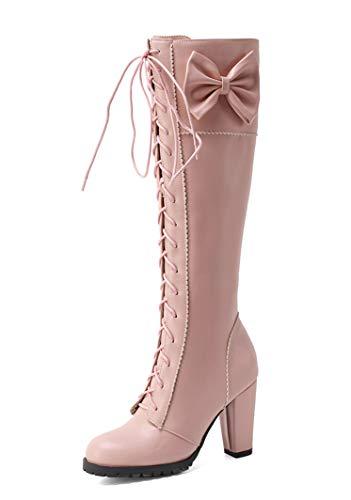 SHEMEE Damen High Heels Kniehohe Stiefel mit Blockabsatz und Schnürung 10cm Absatz Knee High Boots Lolita Schleife Winter Schuhe(Rosa,39)