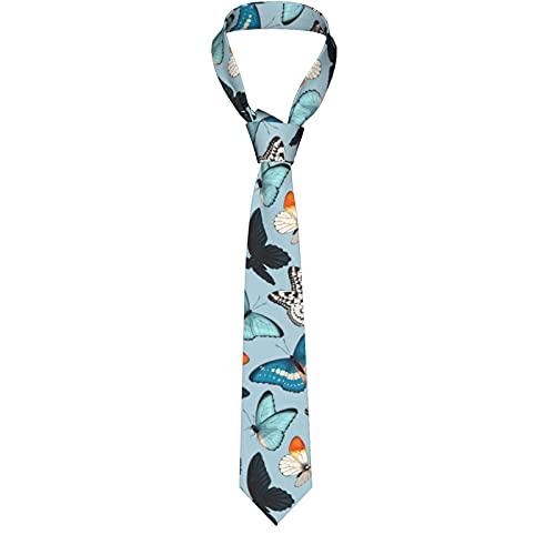 KXT Blue Yellow Butterflies Men's Funny Neckties,Christmas Decorations Fashion Boys Cravats Tie,Classic Necktie for Wedding Party Business