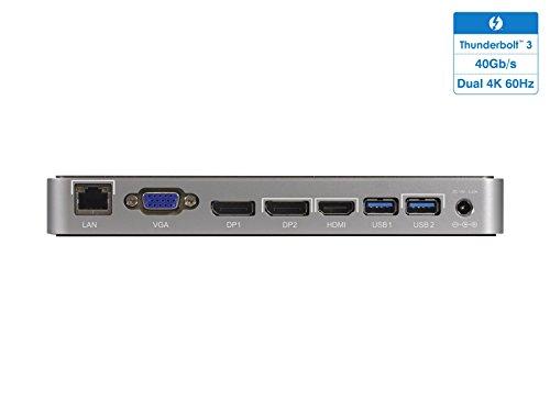Mantiz Titan-Thunderbolt 3 Dock High Speed 40Gb/s, with 87W Charging, USB 3.1 Gen1 x 2, Display Port x 2, HDMI x1, VGA x1, Gigabit LAN, Dual 4K @ 60Hz, Compatible for Windows, MacOS Certified