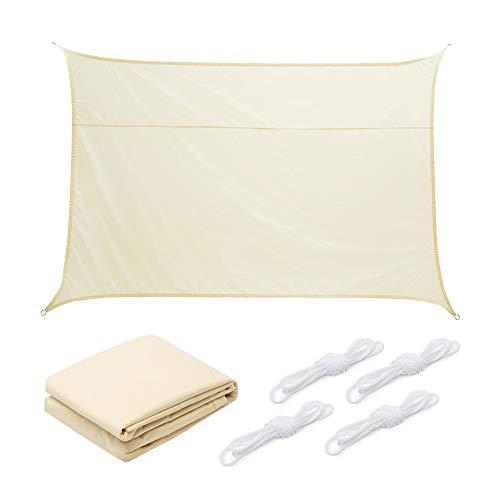Hyindoor Toldo Vela de Sombra Rectangular 2 x 3 m Protección Rayos UV Toldo de Bloque Solar Resistente para Patio, Jardín, Exteriores, Color Beige