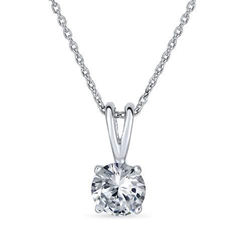 Bling Jewelry Einfache 1Ct Runde Zirkonia AAA Cz Solitär Anhänger Halskette Für Frauen Für Freundin Für Teen 925 Sterling Silber