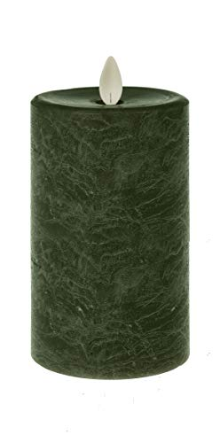 Ganz LED Textured Pillar 5 x 3 inches Wax Flameless Candle with Timer, Green Marbled