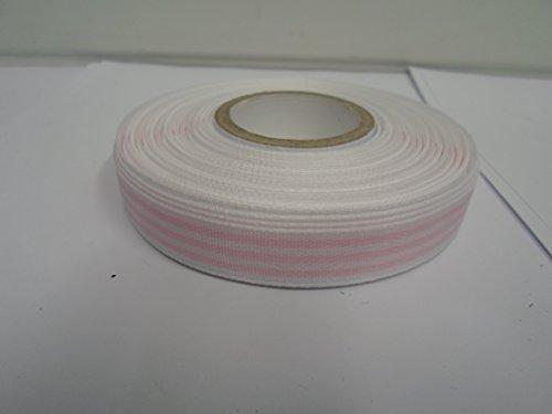 2 meter van 15mm Grosgrain Streep Lint Wit en Licht baby roze ligstoel streep Dubbelzijdig Geribbeld 15 mm 1.5cm