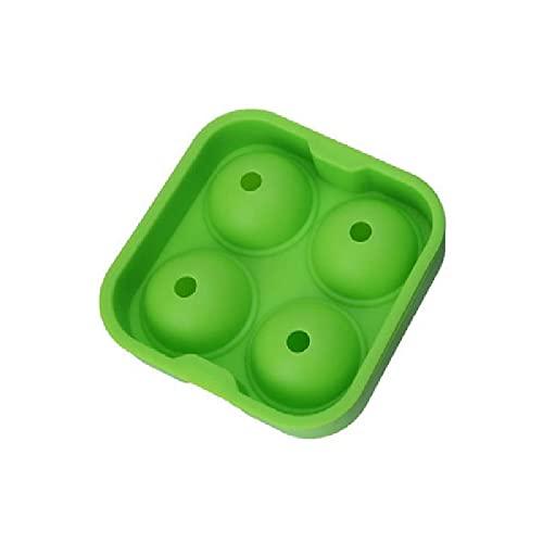 Kikiik - Molde grande de silicona para hockey sobre hielo con cuatro agujeros, bandeja de hielo redonda de hockey sobre hielo, color verde