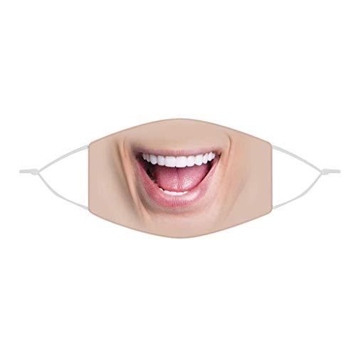 eiuEQIU 3D Mundschutz Cover,Erwachsene männliche weibliche Lustige atmungsaktiver, Wiederverwendbare Outdoor Unisex Staub, Baumwolle Soft Half Face,
