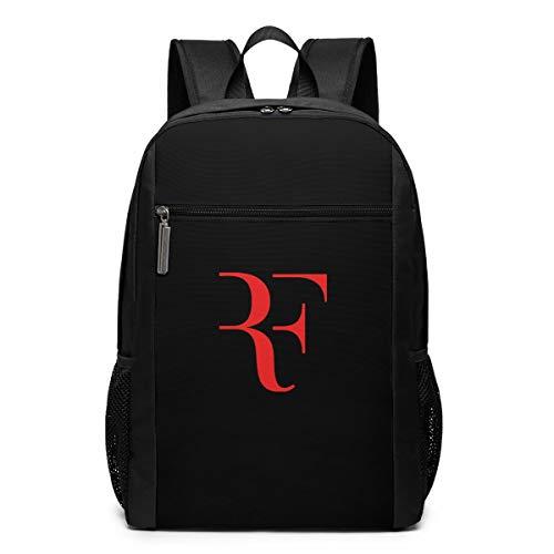 ロジャー·フェデラー テニス 王者 ユニセックスファッションバックパック17インチ、亜鉛合金ハンギングジッパーヘッド、通勤学生ラップトップスーパーヘビーデューティーバックパック、アウトドアスポーツバックパック