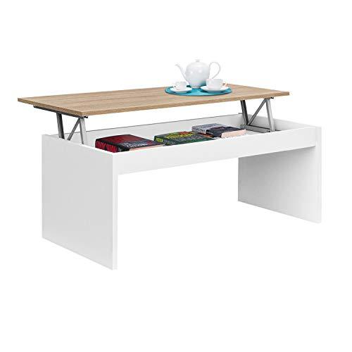 Habitdesign 0F1638A - Mesa de Centro Elevable Modelo Zenit, Mesita Mueble Salon Comedor Acabado en Roble Canadian - Blanco Artik, Medidas: 102 cm (Ancho) x 43/52 cm de (Alto) x 50 cm (Fondo)