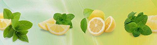 wandmotiv24 Küchenrückwand Zitronen 210 x 60cm (B x H) - Acrylglas 4mm Nischenrückwand Spritzschutz Fliesenspiegel-Ersatz M0700