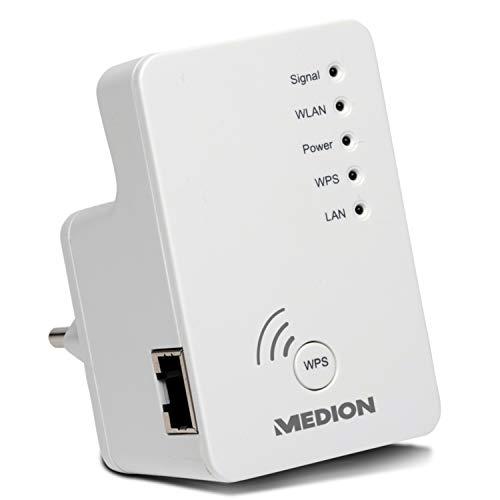 MEDION P85019 WLAN WiFi Verstärker mit LAN Anschluss (WLAN 802.11 b/g/n 2,4GHz, Access-Point, Client, WPS)