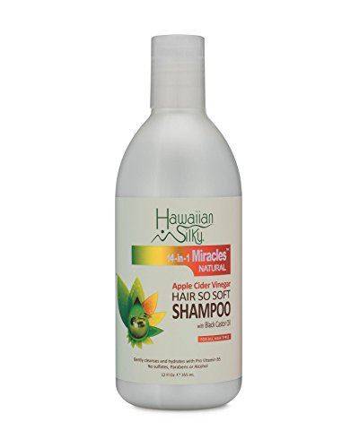 Apple Cider Vinegar Daily Shampoo Sulfate-Free, 12 fl oz - Black Castor Oil Enriched Extract - Treat Dry and Damaged Scalp   for Men, Women & Kids by Hawaiian Silky 14-in-1 Miracles