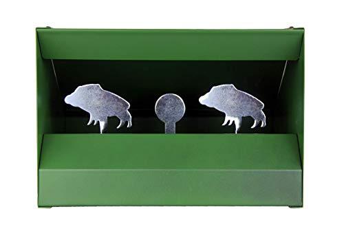 OAKWOOD Kugelfangkasten Wildschwein Scheibenkasten Schießkasten ufklappbare Ziele Metall grün