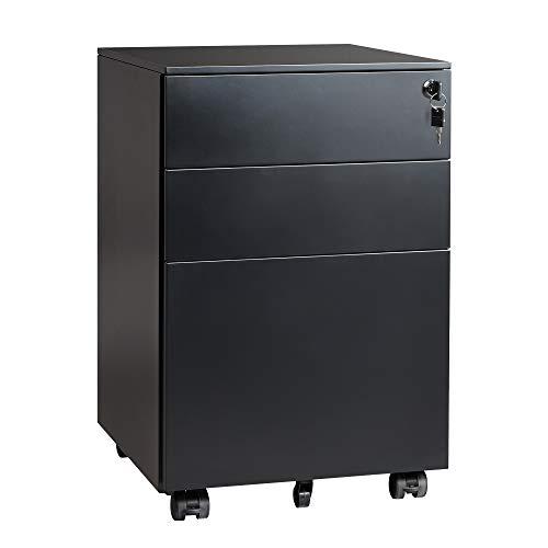 DEVAISE 3 Drawer Locking File Cabinet, Under Desk Metal Filing Cabinet for Legal/Letter/A4 File, Fully Assembled Except Wheels, Black