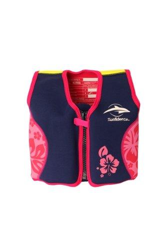 Kinder-Schwimmweste aus Neopren, Navy/Pink Hibiscus, Konfidence Jacket. Größe 6-7 Jahre: 21-26 kg, Brustumfang ca. 66 cm