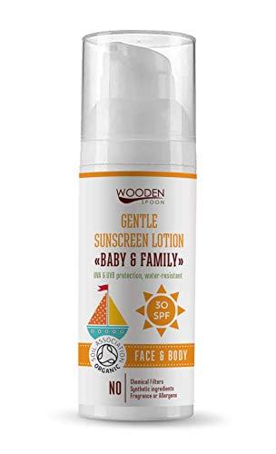 Cuchara de madera orgánico crema de sol nueva botella grande 100 ml 30 SPF hecho a mano, certificado de asociación de suelo, óxido de zinc