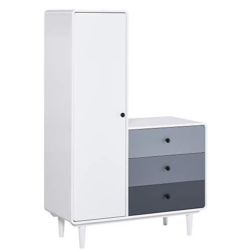 HOMCOM Kleiderschrank mit Nachttisch 2-in-1 Schrank mit Stange Schublade für Wohnzimmer Schlafzimmer MDF Holz Weiß+Grau 100 x 45 x 155 cm