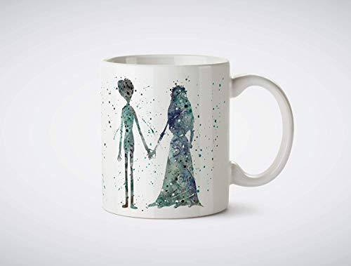 NA Tim Burton39s Novia cadáver Emily y Victor Acuarela Arte Imprimir café...