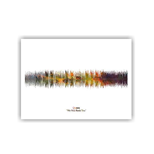 LAB NO 4 Queen Band We Will Rock You Song Soundwave Print Music Lyrics Poster in A4 Size