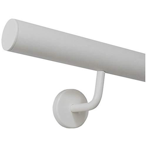 Handlauf weiß pulverbeschichtet V2A Edelstahl Geländer innen außen wetterfest beständig 0,3m - 6m aus einem Stück Variante:30 cm mit 2 Halter Enden mit gerade Kappe