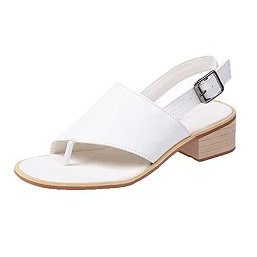 Dames Sandalen Met Blokhak Zomer Verstelbare Gesp Schoenen Effen Kleur Correctie Sandalen Mode Clip Voet Slippers Voor Dames Strand Zomer, Wit, 36