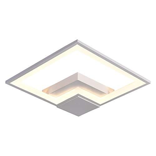 38W LED Luz de techo Estudio de minimalismo moderno Salón Dormitorio Comedor Lámpara de techo decorativa Personalidad creativa Geometría Cuadrado Negro Acrílico Hierro Iluminación de techo L40cm Atenu
