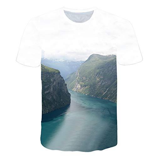 BZPOVB T-Shirts Unisexe Mode Cool Chemises à Manches Courtes 3D Creative Imprimé River Canyon Graphics Mode Personnalité T-Shirts (Color : Multi-Colored, Size : XL)
