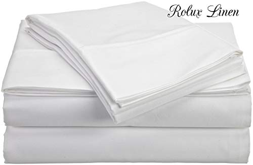 Rolux Linen Queen Sleeper Sofa Bed Sheet Set - White Solid 100% Cotton 800 Thread Count Fit Up To 8' inches Deep Mattress.