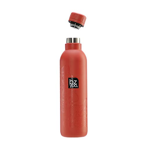 bzyoo H2GO Double Wall Vacuum Insulated 18/8 Stainless Steel Reusable 17oz Leak-Proof Thermos Travel Water Coffee Bottle for Gym Hiking Cycling Gifts Wellness (Mandala Red)