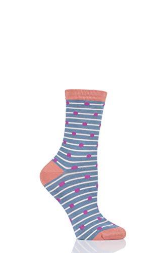 Thought Damen Hope Spot und Streifen Bambus und Bio-Baumwolle Socken Packung 1 Meer Blau 37-40