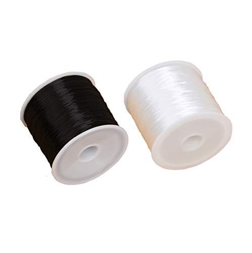 2 Roll 0.7 mm Elastic Cord Thread Beading Threads Stretch String Fabric Crafting Cord for Jewelry Making Craft Making DIY and Bracelet Beading Thread White and Black. (100 m)