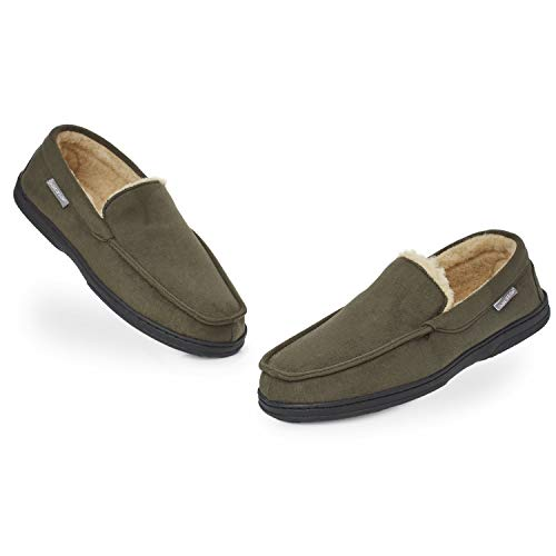 Dunlop Zapatillas Casa Hombre | Pantuflas Estilo Mocasines Cerradas | Zapatillas de Casa Invierno Calientes Suela de Goma Dura | Regalos Originales para Hombre (46 EU, caqui)